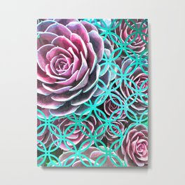 Purple Succulent Turquoise Geometric Metal Print