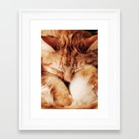 garfield Framed Art Prints featuring Garfield Sleeps by Rachel's Pet Portraits