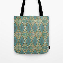 Teal Turquoise Khaki Brown Rustic Mosaic Pattern Tote Bag