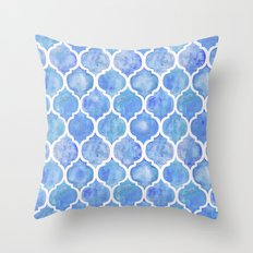 Cornflower Blue Moroccan Hand Painted Watercolor Pattern Throw Pillow