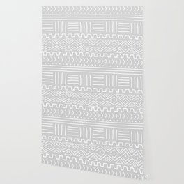 Mud Cloth on Light Gray Wallpaper