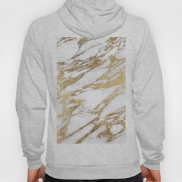 Chic Elegant White and Gold Marble Pattern Hoody