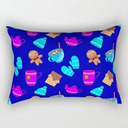 Lovely gingerbread men cookies, chocolate, hot cocoa with marshmallows cozy blue winter pattern Rectangular Pillow