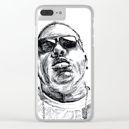 Digital Drawing 33 - Notorious B.I.G. Black and White Clear iPhone Case