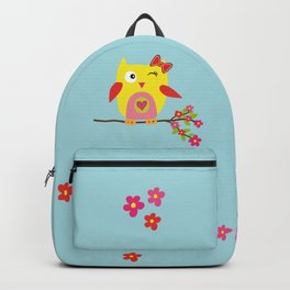Cute Yellow Owl - Pink Flowers Illustration Backpack