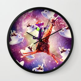 Rave Space Cat On Giraffe Unicorn - Coffee Wall Clock