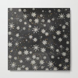 Boho Black Snowflakes Metal Print