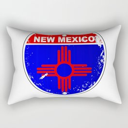 New Mexico Flag Icons As Interstate Sign Rectangular Pillow