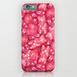 Pink is My Favorite Flavor - delicious gummy bears, fruit chews, strawberries and jelly beans iPhone Case