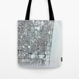 Fort Lauderdale, FL, USA, White, City, Map Tote Bag