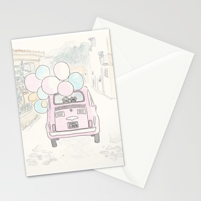 Pink Vintage Car with Balloons in Countryside and Fluffballs Stationery Cards
