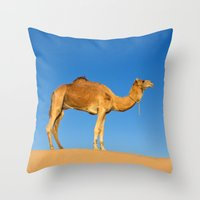 camel Throw Pillows featuring Camel by Chantal Seigneurgens