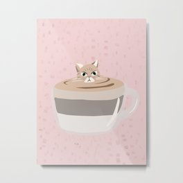 Coffee tiramisu cat latte art Metal Print