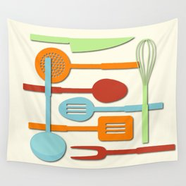 Kitchen Colored Utensil Silhouettes on Cream III Wall Tapestry