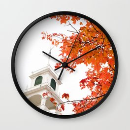 Church In Fall Wall Clock