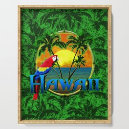 Hawaiian Sunset And Palm Trees Serving Tray