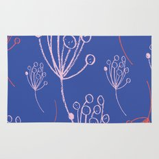 floral blue chalk contemporary Rug