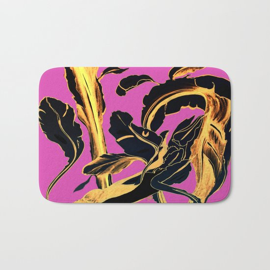 Golden Succulent on Fuchsia Bath Mat