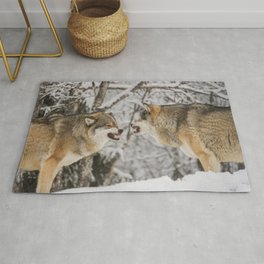 Wolves snarling snow winter forest wildlife Rug