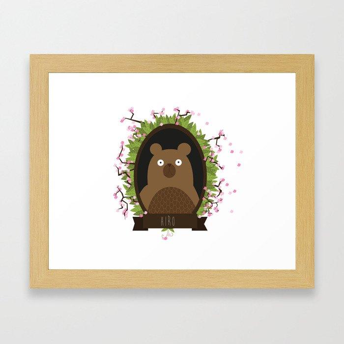 Hiro bear portrait Framed Art Print