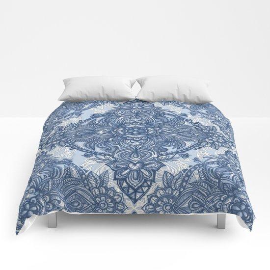 Denim Blue Lace Pencil Doodle Comforters