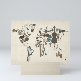 Musical Instruments Map of the World Mini Art Print