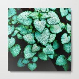 Mint Heart Leaves Metal Print