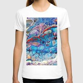 Run Away - Macro 1 - Marbled Stone Look Abstract Art Blue Purple Red T-shirt