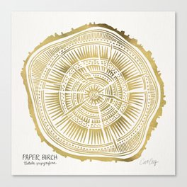 Paper Birch – Gold Tree Rings Canvas Print