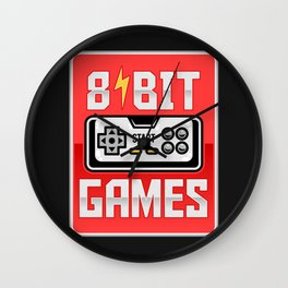 8-bit Games - Retro Classic Gamers - Retro graphic illustration - Beyond Vintage. Wall Clock