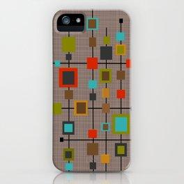 Mid-Century Modern Squares Pattern iPhone Case