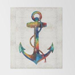Nautical Anchor Art - Anchors Aweigh - By Sharon Cummings Throw Blanket