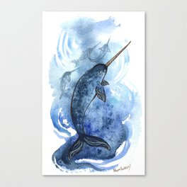 Narwhal Pod Arctic Waters Canvas Print