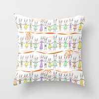 bunnies Throw Pillows featuring Bunnies by Anchobee