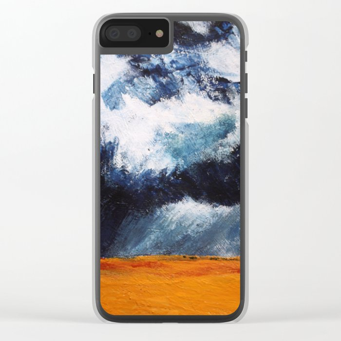 Storm Clouds Over Illinois Wheat Fields Acrylic On Canvas Clear iPhone Case