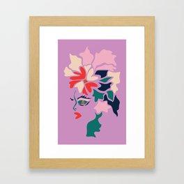 Face in Florals Framed Art Print