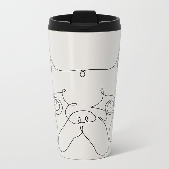 One Line French bulldog Metal Travel Mug