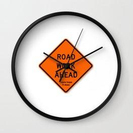 Road Work Ahead Meme Wall Clock