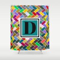 monogram Shower Curtains featuring D Monogram by mailboxdisco