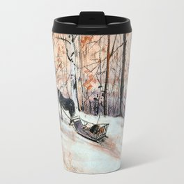 Sledging in the winter forest Travel Mug
