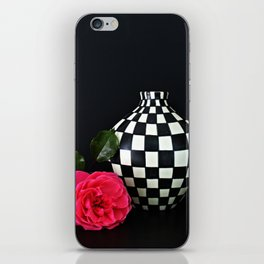 Pink Rose and a Checkered Vase Still Life iPhone Skin