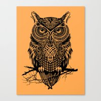 owl Canvas Prints featuring Warrior Owl 2 by Rachel Caldwell