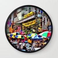 korean Wall Clocks featuring Korean Rain (Painted Version) by Anthony M. Davis
