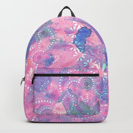 Pink Blue Mandala Watercolor floral Pattern Backpack