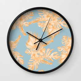 Hawaiian Hibiscus Palm Deep Orange Sky Blue Wall Clock