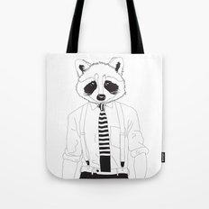 Raccoon ~ black and white Tote Bag