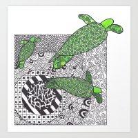 turtles Art Prints featuring Turtles by Kandus Johnson