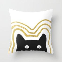 Golden Cat Vibes Throw Pillow