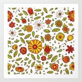 Spring Flitty Flowers Art Print