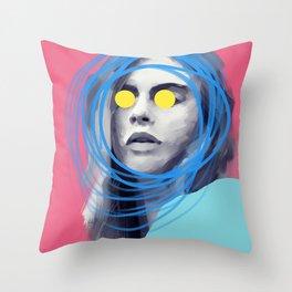 Brow Cara, POP art style, digitally painted Throw Pillow